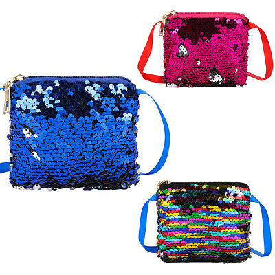 CO_ Shiny Mermaid Sequins Coin Purse Kids Girl Women Mini Shoulder Bag Wallet Co