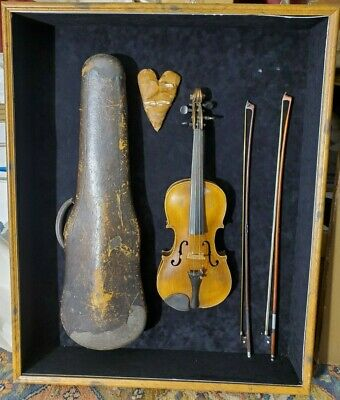 Beautiful Antique Violin Set in a Custom Wooden Shadowbox Display