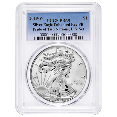 2019-W Reverse Proof $1 American Silver Eagle PCGS PR69 Pride of Two Nations U.S
