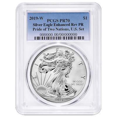 2019-W Reverse Proof $1 American Silver Eagle PCGS PR70 Blue Label Pride of Two
