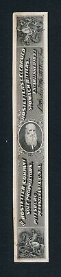 Hostetter's Match & Medicine Proprietary Die Proof on india on card, ABNCo 1880s