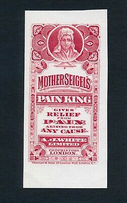 Mother Seigels' Pain King small label proof, AJ White, New York, London