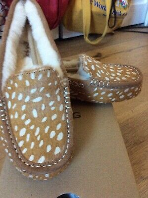 737cc725484 UGG ANSLEY IDYLLWILD Chestnut Cow Hair Moccasins Slippers Shoes Size ...
