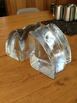 Vintage Blenko Glass Bookends GLACIER ICE Don Shepherd 1980s