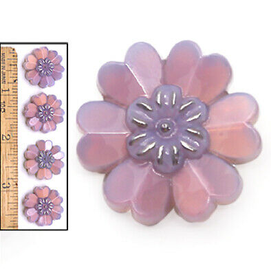 22mm Vintage Czech PURPLE OPAL Realistic Violet Daisy Flower Glass Buttons 4pc
