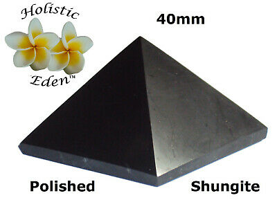 30mm Shungite Polished Pyramid EMF Protection, Air Purifier Crystal Health Stone