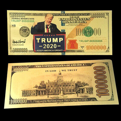 10X President Donald Trump Colorized $100,0000 Dollar Bill Gold Foil Banknote QE
