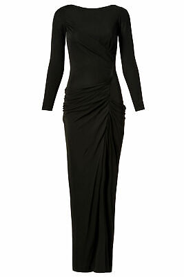 Badgley Mischka Women's Gown Black US Size 10 Ride Ruched Front-Slit $935- #561