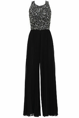 Badgley Mischka Women's Jumpsuit Black US Size 2 Sequin Beaded Bodice $795- #547