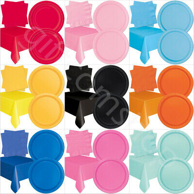 41 Piece Solid Colour Party Tableware Set - Paper Plates, Napkins & Table Cover