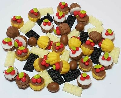 50 Dollhouse Miniature Chocolate Food Set * Doll Mini Cupcakes Candy Cakes Eggs