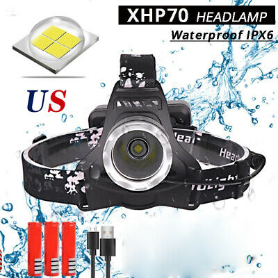 200000LM XHP70 Powerful Led headlamp Headlight USB Rechargeable Head Torch 18650