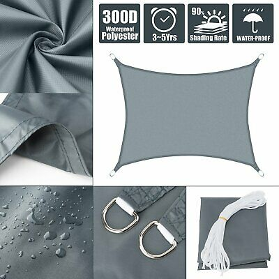 Waterproof Shade Ssil Sun Patio Canopy Awning Triangle Rectangle Grey Mulit-Size