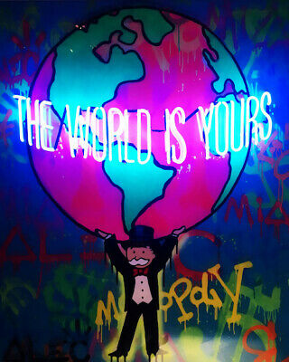 Alec Monopoly print on Canvas Graffiti art decor The World is Yours 28x36""