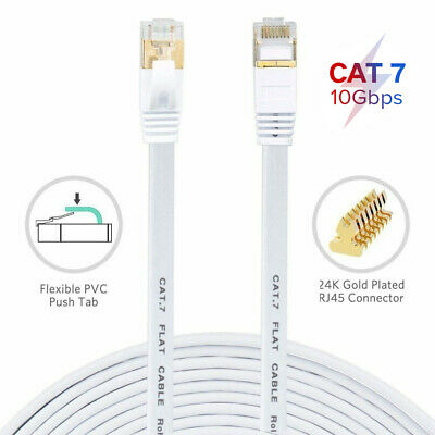 15M Long Flat RJ45 Cat7 Network LAN Ethernet 10Gbps SSTP Gigabit Patch Cable