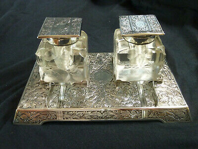 TIFFANY & Co Sterling Silver Art Nouveau Double Inkwell & Pen Tray Stand