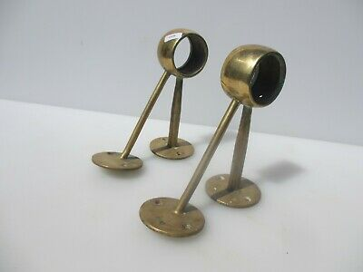 Vintage Brass Hand Rail Bracket Holder Pole Old Guard Art Deco Antique Pair