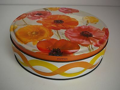 Poppies Biscuit Tin Vintage Art Deco Design Flowers Collectable