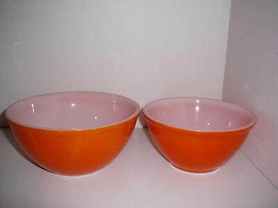 Orange Glass Mixing Bowls Baking Collectable Vintage