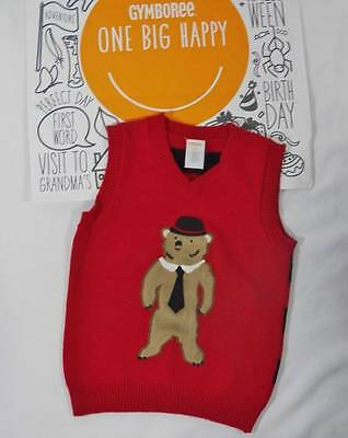 ~Gymboree~ Boys 3T LONDON LAD Red Fuzzy Bear Tie Sweater Vest Holiday