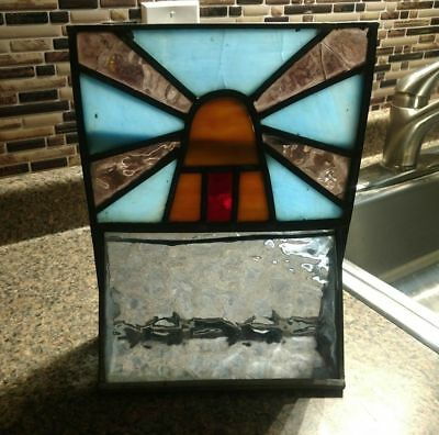 Stained Glass Window Vent Windmill Vintage Lead Dutch Holland