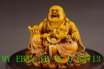 China shoushan stone old Hand carved the money Buddha statue A61