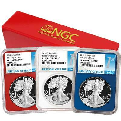 2019-S Proof $1 American Silver Eagle 3pc. Set NGC PF70UC FDI First Label Red Wh