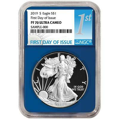 2019-S Proof $1 American Silver Eagle NGC PF70UC FDI First Label Blue Core