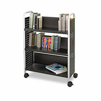 Safco Scoot Book Cart Three-Shelf 33w x 14-1/4d x 44-1/4h Black 5336BL