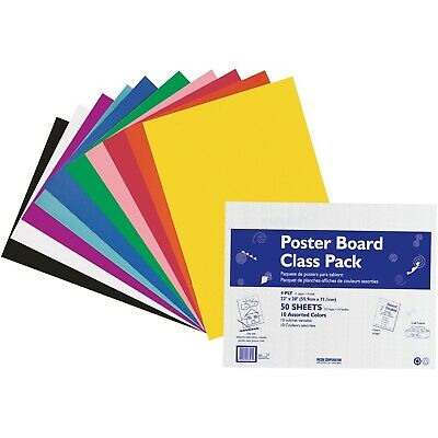 """Pacon Posterboard 4-Ply 22""""x28"""" 50 Shts Assorted 76347"""