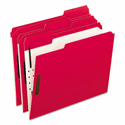 Pendaflex Colored Folders With Embossed Fasteners 1/3 Cut Letter Red/Grid