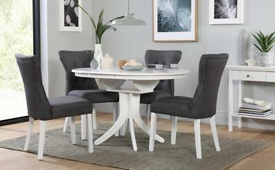 Hudson & Bewley White Round Extending Dining Table & 4 6 Chairs Set (Slate)