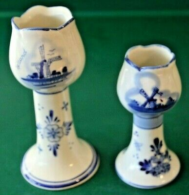 2 Vintage Delft Blue Hand Painted Holland Tulip Candleholder With Windmills