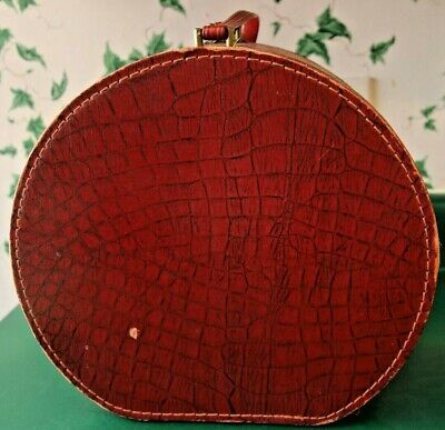 """Vintage Burgundy Red Round Luggage Train Hat Carrier Box Zippered Suitcase 12"""""""
