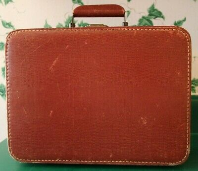 """Vintage Small Burgundy Make-up Hard Shell Suitcase 13"""" X 10"""" X 5"""""""