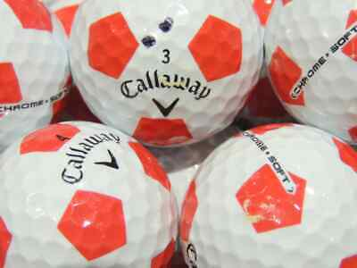 36 Callaway Chrome Soft Truvis Red & White Used Golf Balls AAA +