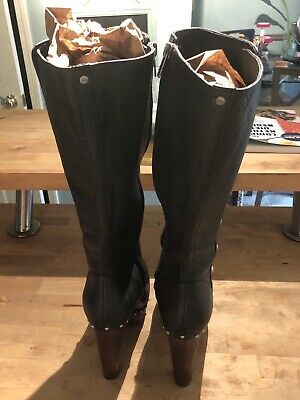 252d1f30367 NEW WOMENS UGG Cosima Tall Chocolate Leather Studded High Heel Boots ...