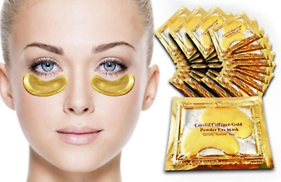 10Pcs Crystal Collagen 24k Gold Under Eye Gel Pad Face Mask Anti Aging Wrinkle L