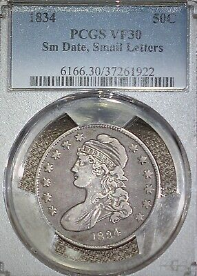 1834 50c CAPPED BUST LETTER EDGE Sm Date, Small Letters	PCGS VF30 TUFF VARIETY