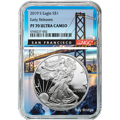2019-S Proof $1 American Silver Eagle NGC PF70UC ER San Francisco Core