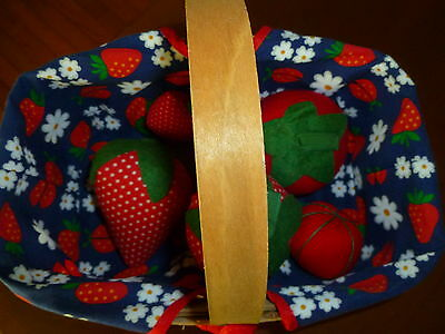 Lined Basket of Handmade Strawberry/Tomato Pin Cushions
