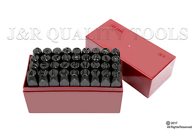 """36 pc 3/8"""" Steel Metal Punch Letter & Number Stamp Stamping Kit Set With Case"""