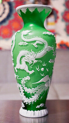 Chinese Peking Glass Vase with Dragon and Phoenix in Jade Green with Mark