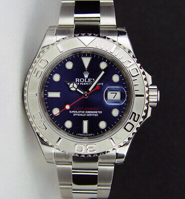 New Rolex Yachtmaster Platinum Blue Dial 40mm 116622 Watch Chest