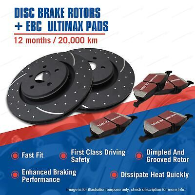 Rear Slotted Brake Rotors EBC Ultimax Pads for Volvo Xc90 3.2L T6 D5 V8