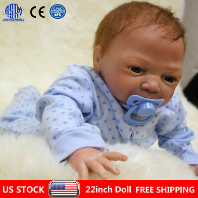 "22"" Reborn Dolls Newborn Baby Silicone Vinyl Real Baby Boy Doll Gift + Clothes"