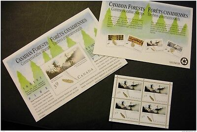 Canada 1284a Pane of four MNH in envelope Great Lakes St Lawrence Forest 1990