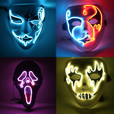 Halloween El Wire Light Up LED Mask Neon Rave Horrific Cosplay Party Costume RD