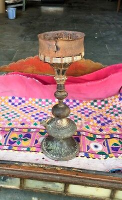 1820's Antique Old Brass Gilt Iron Wood Hand Crfated Rare Hookah Pot