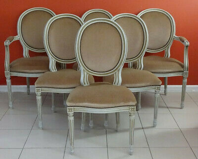 Antique/ Vintage French Louis XVI Dining Kitchen Chairs Armchairs   (Set of 6)